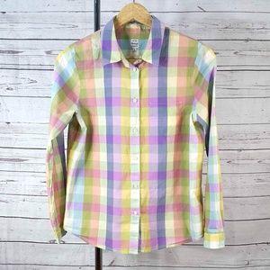 Madewell plaid long sleeve button collar check top